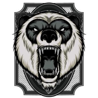 Zły panda maskotka głowa ilustracja wektorowa