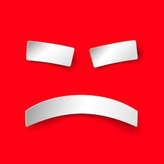 Zły papierowy uśmiech na czerwonym tle. ilustracja w stylu papieru z cieniem. zły znak wektorowy