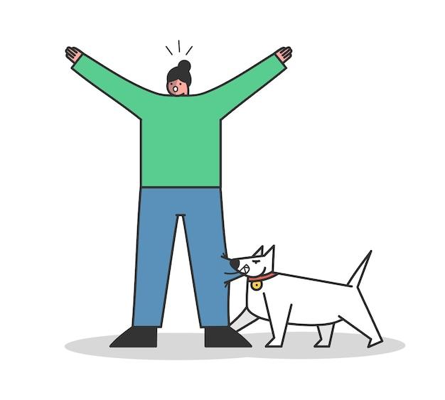 Zły pies gryzie kobietę. agresywny pies stróżujący atakujący człowieka. postaci z kreskówek na białym tle