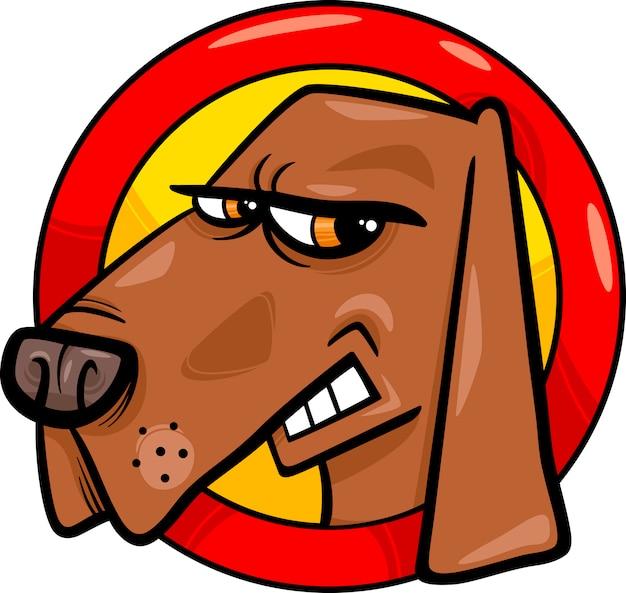 Zły pies znak ilustracja kreskówka