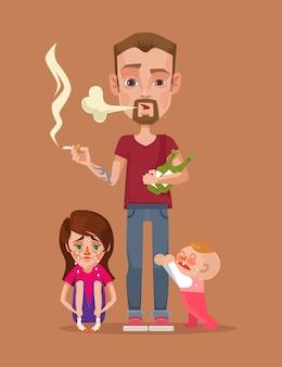 Zły pijany ojciec palący z postaciami dzieci. płaska ilustracja