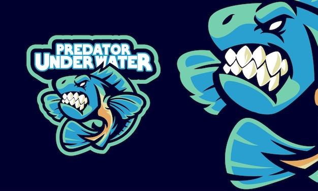 Zły pirania ryba sport logo maskotka ilustracja