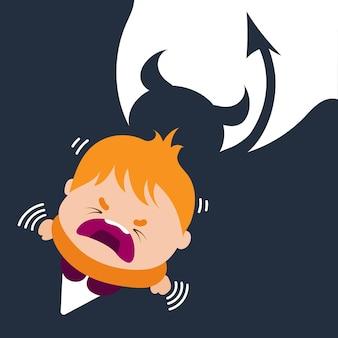 Zły płacz dziecka z czerwoną głową. chłopiec patrzący w górę i wyrażający frustrację. postacie z kreskówek, ilustracja