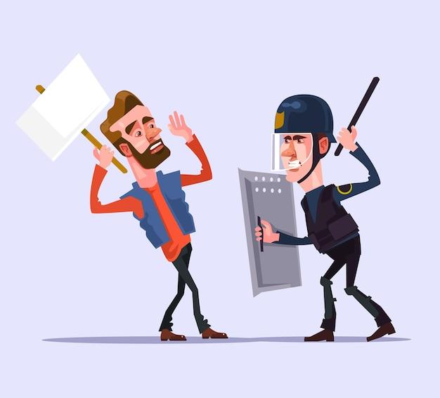 Zły policjant człowiek postać atakuje protestującego płaską ilustrację kreskówki