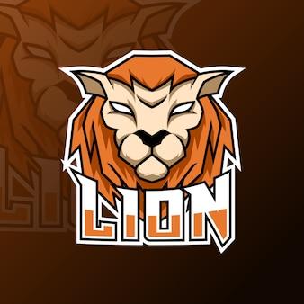 Zły pomarańczowy lew lampart jaguar tygrys maskotka logo szablon do gier