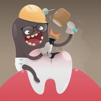 Zły potwór kopie i uszkadza ząb, ból zęba jest spowodowany próchnicą, wektor kreskówki, koncepcja zdrowia zębów
