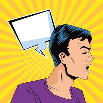 Zły profil człowieka z bańka mowy w stylu pop-artu