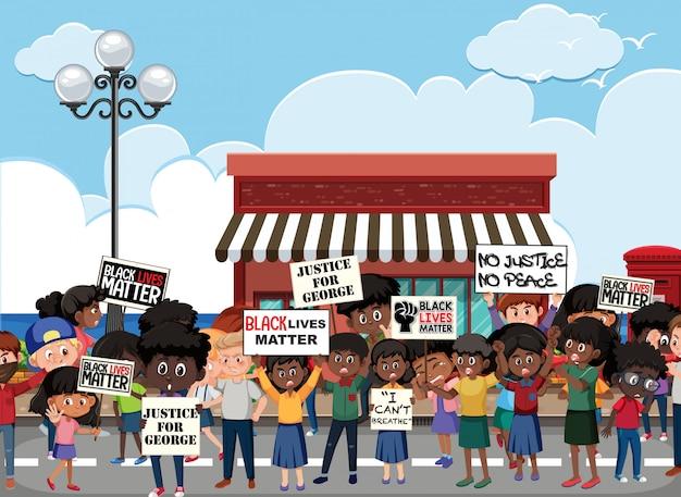 Zły protestujący przeciwko rasizmowi na ulicy