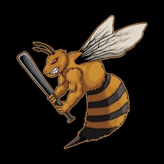 Zły pszczoła trzyma kije