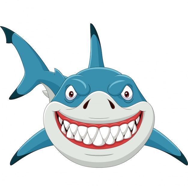 Zły rekin kreskówka na białym tle