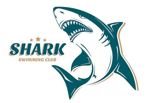 Zły rekin logo klubu pływackiego. idealny do nadruku na koszulkach, kubkach, czapkach lub innych projektach reklamowych