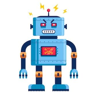 Zły robot w pełnym rozwoju. humanoidalny futurystyczny. zabójca cyborga. ilustracja wektorowa płaski
