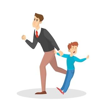 Zły rodzic krzyczy na małe dziecko