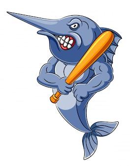 Zły ryb trzyma kij baseballowy