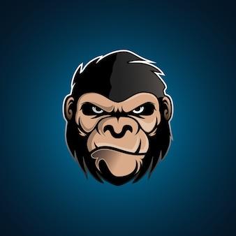 Zły silny goryl logo zwierzęcia