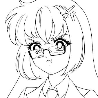Zły słodkie anime dziewczyna w okularach. portret ikony.