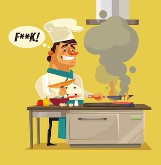 Zły, smutny, zły szef kuchni pali jedzenie.