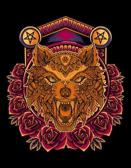 Zły styl mandali głowy wilka z kwiatem róży