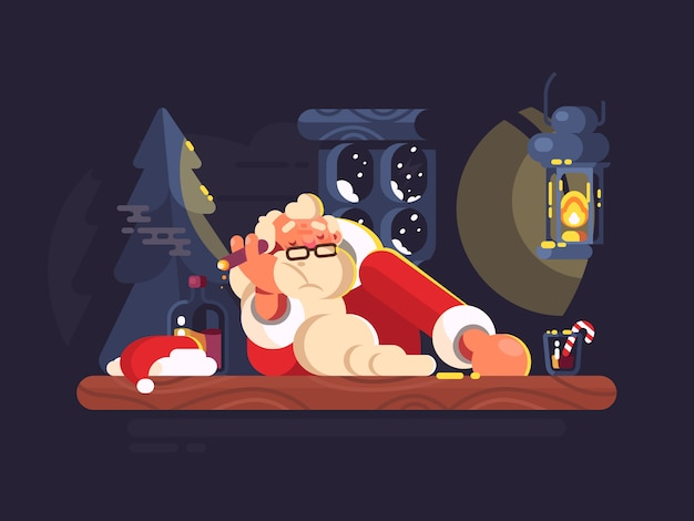 Zły święty mikołaj palący cygaro i pijący alkohol. ilustracja