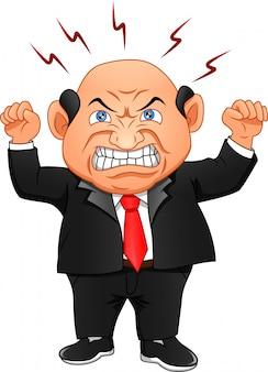 Zły szef. biznesmen jest zły