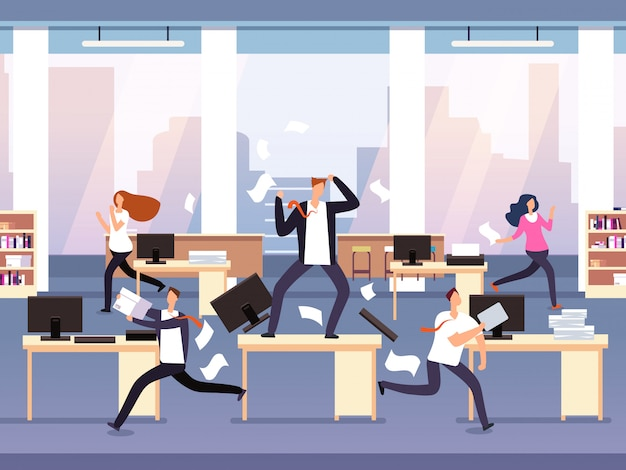 Zły szef. chaos w biurze z panikującymi pracownikami. biznesmen w stresie i ostatecznym terminie