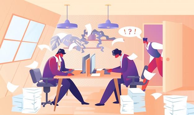 Zły szef krzyczy na pracowników biurowych pracowników