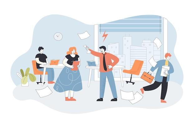 Zły szef krzyczy na pracowników w biurze. płaska ilustracja