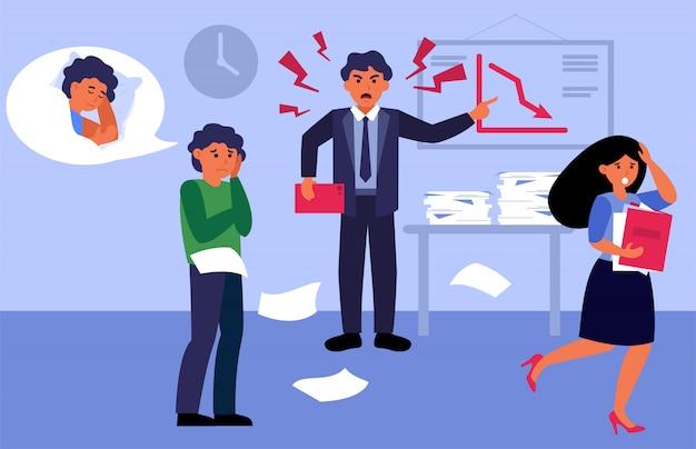 Zły szef krzyczy na swoich pracowników w biurze