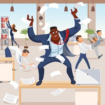 Zły szef krzyczy w chaosie na podwładnych