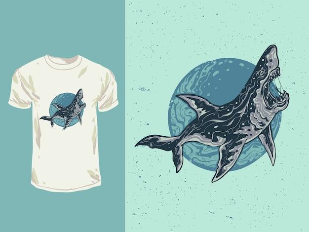 Zły twarz niebieski rekin ryba z ilustracją stylu kreskówki