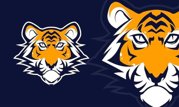 Zły tygrys głowa logo premium ilustracja wektorowa maskotka