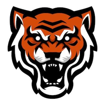 Zły tygrys głowa maskotka logo