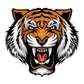 Zły tygrys głowa maskotka na białym tle