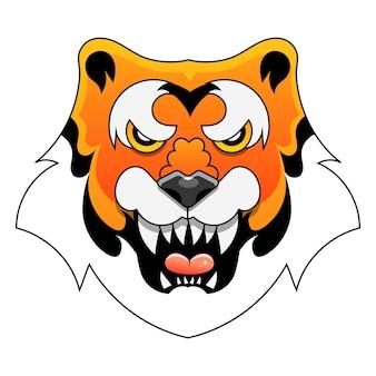 Zły tygrys twarz wektor znak do druku, w komiksach, moda, pop-art