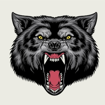 Zły wilk głowa w ręcznie rysowane stylu płaskiej ilustracji