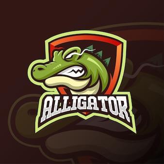 Zły zielony projekt logo e-sportu maskotki aligatora lub głowy krokodyla