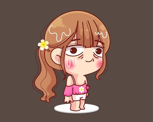Zmartwiona dziewczyna z nadmiernym poceniem się twarzy. ilustracja kreskówka