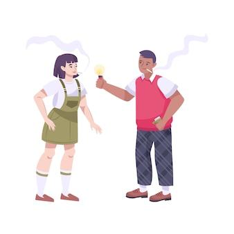 Zmartwiona płaska kompozycja nastolatków z nastoletnim chłopcem leczącym dziewczynę dymem