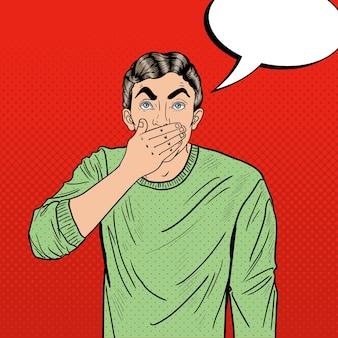 Zmartwiony człowiek pop-artu zamyka usta w szoku
