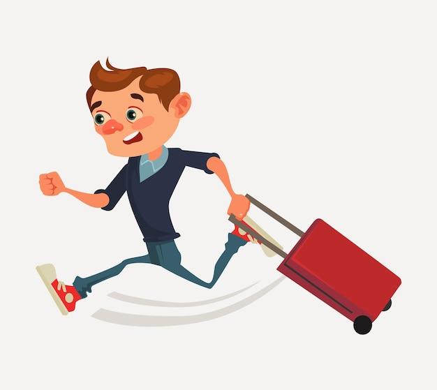 Zmartwiony pracownik biurowy postać biegnie pośpiesznie, trzymając torbę i spóźniony do transportu