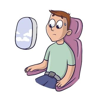 Zmartwiony przerażony mężczyzna na fotelu samolotu przy oknie. strach przed lataniem, aerofobia. ilustracja na białym tle.