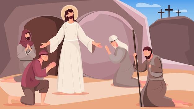 Zmartwychwstanie jezusa i ludzie w pobliżu wyjścia z jaskini grobowej płaska ilustracja