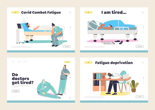 Zmęczeni lekarze i pielęgniarki podczas pandemii wirusa koronowego na ustawionych stronach ładunków roboczych