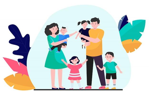 Zmęczeni rodzice z dużym zespołem dzieci