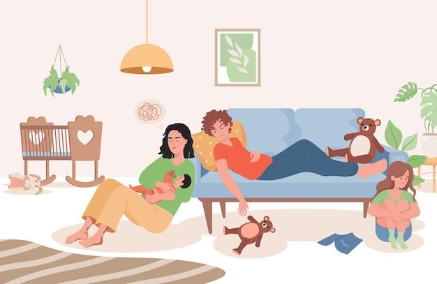Zmęczeni rodzice z małym dzieckiem w płaskiej ilustracji salonu