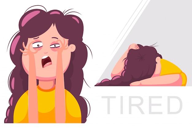 Zmęczona kobieta postać. ilustracja kreskówka dziewczyna na białym tle.