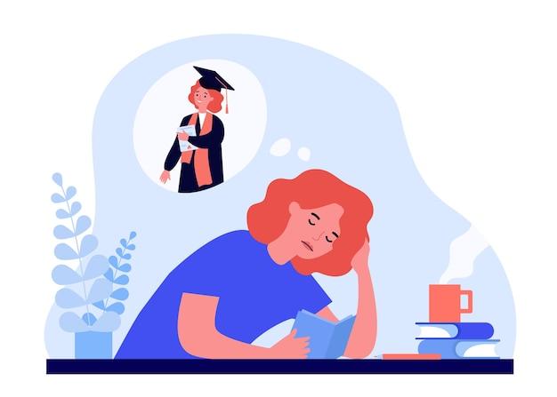 Zmęczona kobieta uczy się dla dyplomu.
