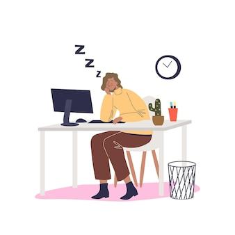Zmęczona kobieta wypalenie przy komputerze siedzieć przy biurku. przepracowana kobieta śpi w miejscu pracy