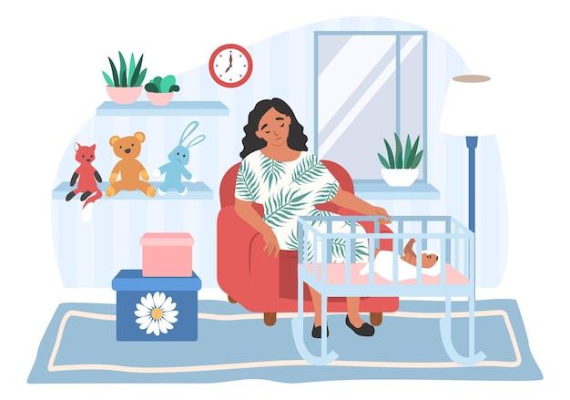 Zmęczona przygnębiona mama siedzi w fotelu przy łóżeczku, płaskie wektor ilustracja. stres rodzicielski, depresja poporodowa.