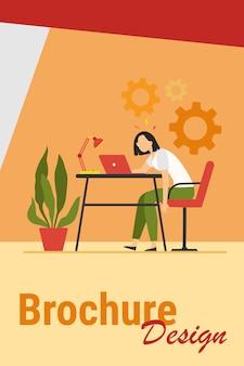 Zmęczona wyczerpana kobieta pracująca przy laptopie i czująca wypalenie. ilustracja wektorowa na przeciążenie, przepracowanie, pojęcie zmęczenia.